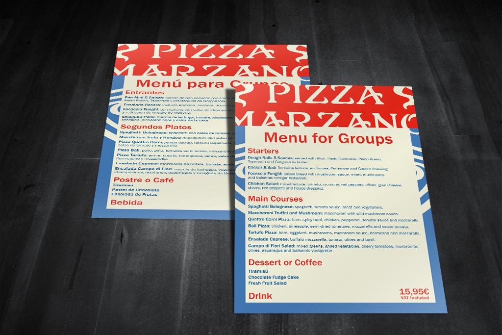 Pizza Marzano menú grupo